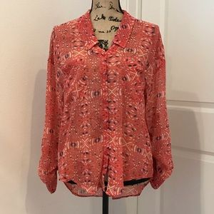 Free People Sheer Coral Blouse Small